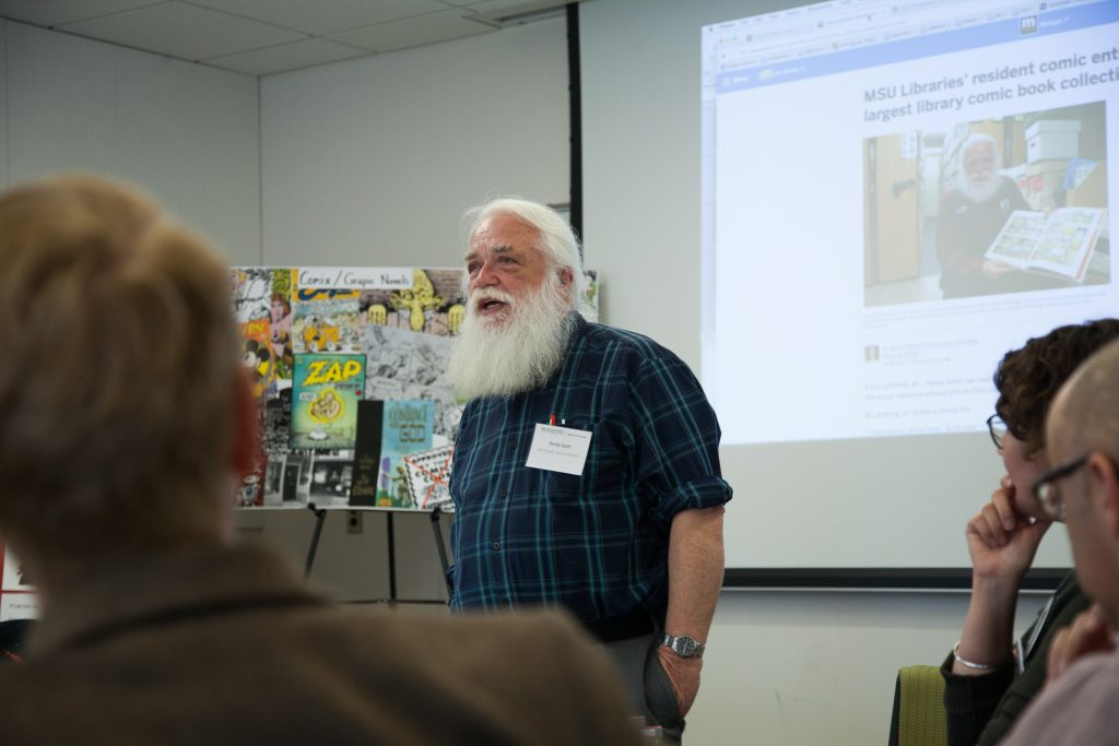 Randy Scott presenting on the Comic Art Collection at MSU